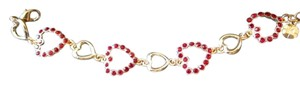 MONET NWT Women's Gold Tone Red Hearts Bracelet by Monet