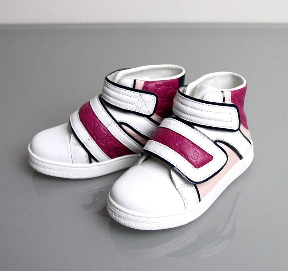 bd09137367c Gucci White/Pink/Purple Kids Leather Coda Pop High-top Sneaker G 24 ...