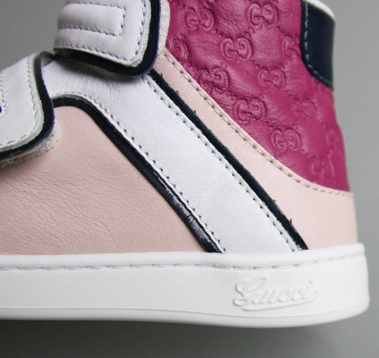 Gucci White/Pink/Purple Kids Leather Coda Pop High-top Sneaker G 24/ Us 8 301353 301354 Shoes