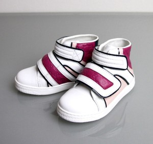 Gucci White/Pink/Purple Kids Leather Coda Pop High-top Sneaker G 30/ Us 12.5 301353 301354 Shoes