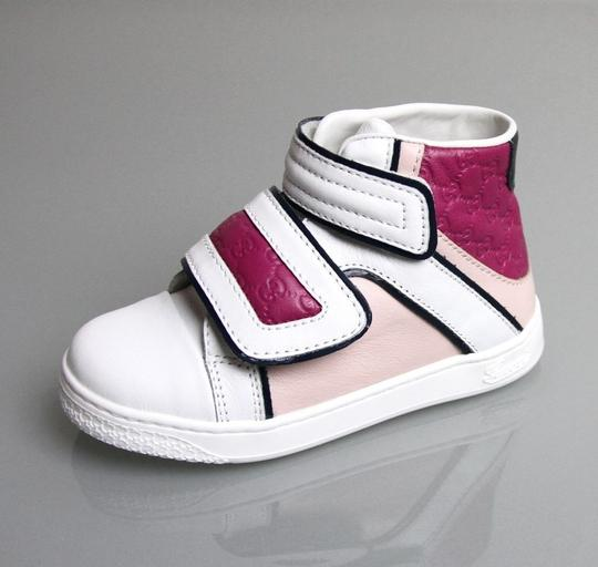 Gucci White/Pink/Purple Kids Leather Coda Pop High-top Sneaker G 33/ Us 2 301353 301354 Shoes