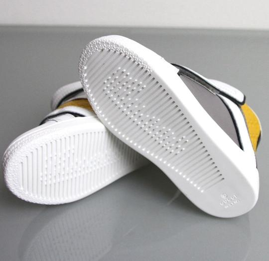 Gucci White/Gray/Yellow Kids Leather Coda Pop High-top Sneaker G 30/ Us 12.5 301353 301354 Shoes