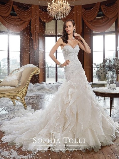 Sophia Tolli Light Gold Lace/Organza Y21511 - Cameron Formal Wedding Dress Size 10 (M)