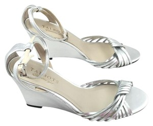 Talbots Holiday Heel Open Toe Silver Wedges