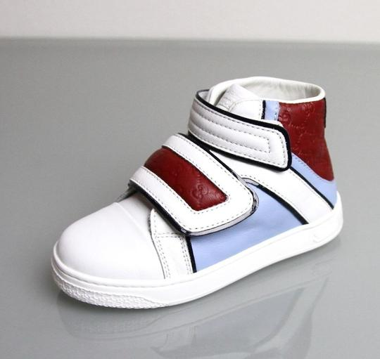 Gucci White/Blue/Red Kids Leather Coda Pop High-top Sneaker G 30/ Us 12.5 301353 301354 Shoes