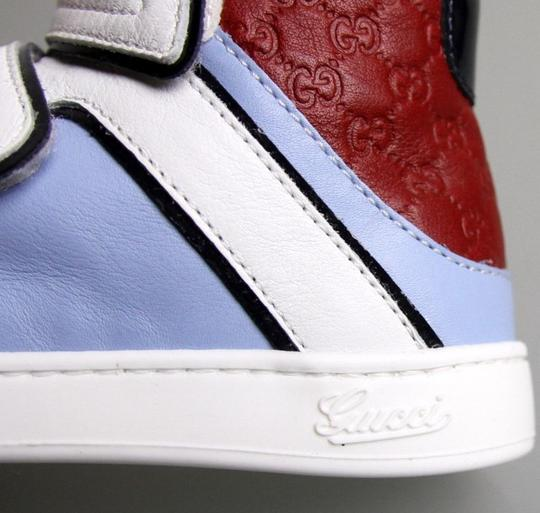 Gucci White/Blue/Red Kids Leather Coda Pop High-top Sneaker G 32/Us 1 301353 301354 Shoes