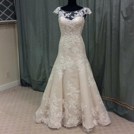 Casablanca Champagne/Ivory Beaded Lace On Tulle 2180 Formal Wedding Dress Size 12 (L)