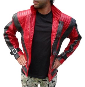 Antinea SRL Michael Motorcycle Italian Leather Red and Black Leather Jacket