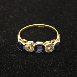 Diamond Sapphire Five Stones Yellow Gold Platinum Topped Ring