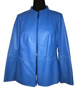 Lafayette 148 New York Blue Leather Jacket
