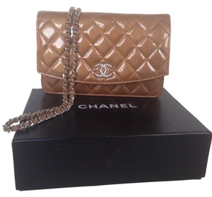 Chanel Woc Wallet Chain East West Patent Quilted Leather Cross Body Bag
