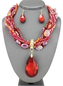Other Retro Chic Vintage Red Oval Crystal Charm Necklace and EarringS