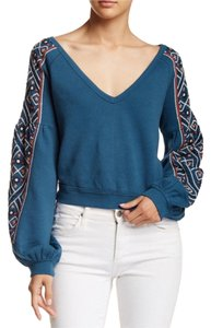 Free People Embroidered Turquoise Large Sweater