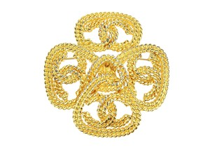 Chanel Vintage Gold Rope CC Cross Brooch
