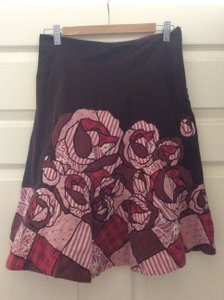 Anthropologie 100% Trim 100%silk Made In India Skirt Brown/pink patchwork