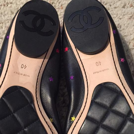 Chanel Leather Patent Leather Stars Pattern Black Flats
