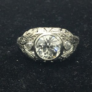 Antique 1.58ct Gia Cert Diamond Platinum Engagement Ring