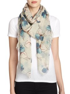 Tory Burch Tory Burch 'Primula Dot' Square Wool Gauze Scarf Floral Dots, NEW