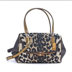 Coach 25642 Ocelot Brown Animal Print Satchel in Ocelot Brown