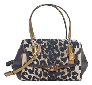 Coach 25642 Animal Print Satchel in Ocelot Brown