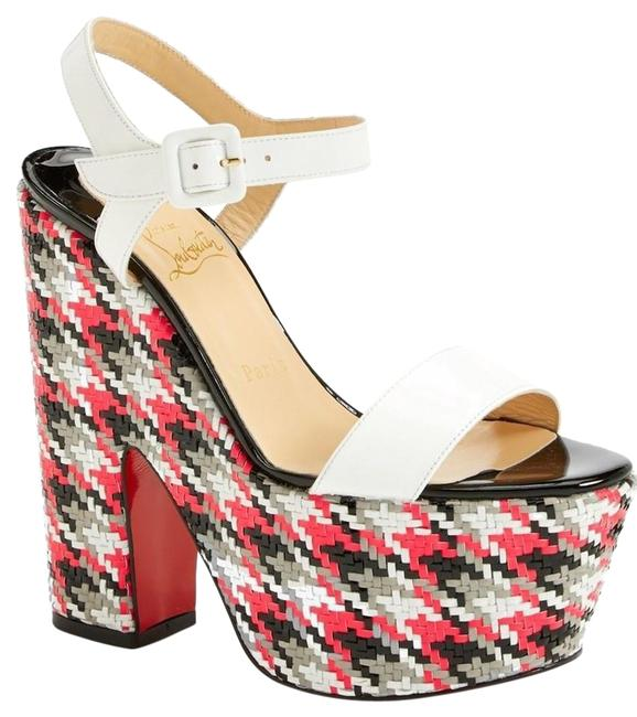 Item - White Leather Bella Red Black Plaid Platform Ankel Strap Sandals Pumps Size EU 37.5 (Approx. US 7.5) Regular (M, B)