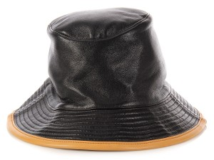 Hermès Black and Tan Leather Bucket Hat