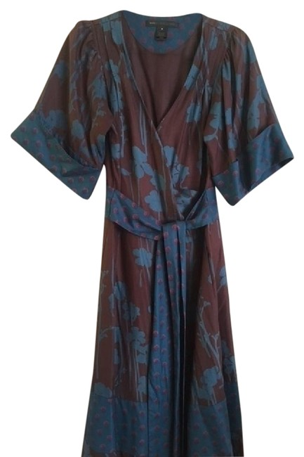 Item - Maroon and Teal Floral Kimono Wrap Long Casual Maxi Dress Size 6 (S)