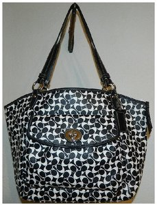 Coach Leah Like New Rare Tote in Black/White/Silver
