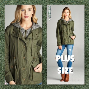 Plus Curvy Anorak Hooded Military Jacket