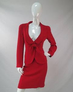 Armani Collezioni Armani Collezioni Red Piece Top Blazer Skirt Silk Piece Set Womens