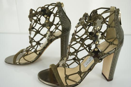 Jimmy Choo 6100510 Pump Gladiator Woven Green Sandals