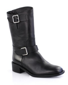 Chanel 6101301 Midcalf Nwob Straps Black Boots