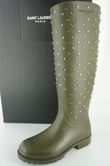 Preload https://img-static.tradesy.com/item/19998762/saint-laurent-green-army-rubber-festival-crystal-studs-knee-high-rain-bootsbooties-size-eu-35-approx-0-0-540-540.jpg