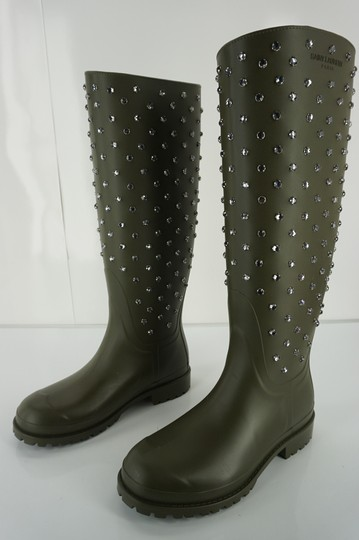 Saint Laurent 6101306 Studded Snow Ysl Yves Green Boots