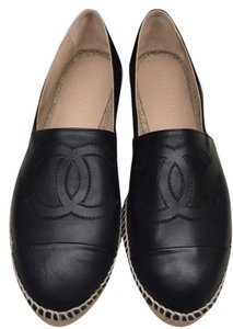 Chanel Leather Espadrilles Espadrilles Size 38 Black Flats