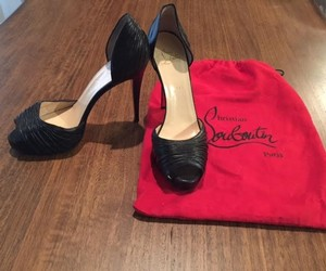 Christian Louboutin Stiletto Leather Peep Toe Black Pumps