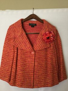 St. John Orange, Fushia & Gold Tweed Blazer