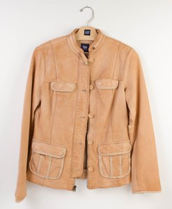 Gap Leather Motorcycle Tan Beige Leather Jacket