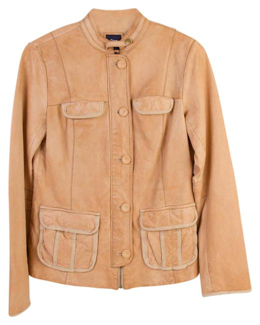 Gap Motorcycle Tan Brown Beige Leather Jacket