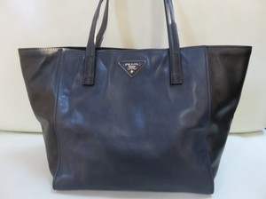 Prada Leather Calfskin Tote in Black Blue