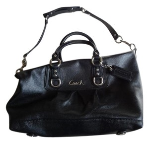 Coach Silver Hardware Leather Satchel in Black