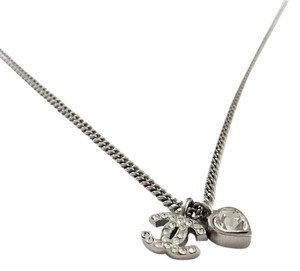 Chanel Chanel Silver and Crystal Heart and CC Necklace