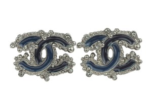 Chanel Dark Blue Enamel CC Logo Crystal Earrings