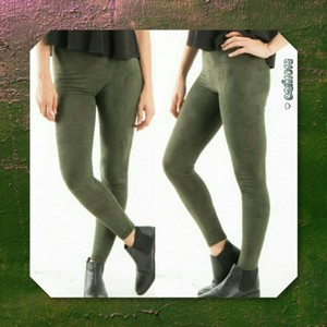 Suede Leather Ankle Length Olive Leggings
