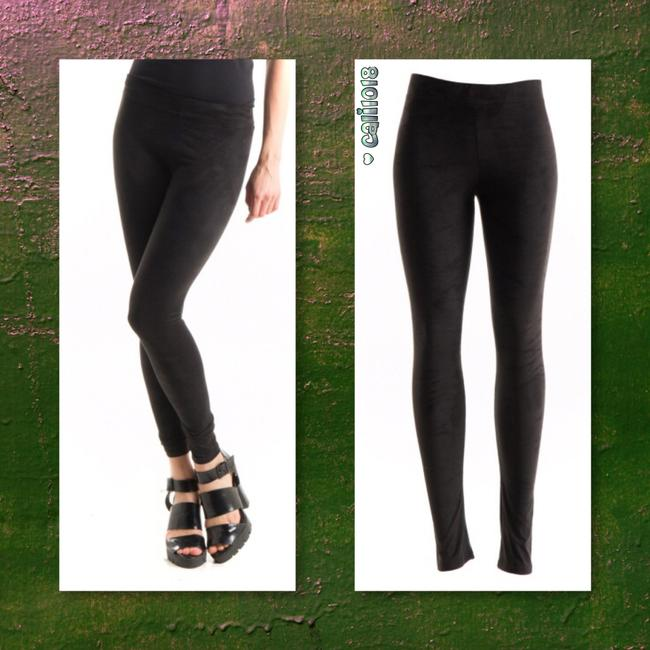 Other Suede Leather Ankle Length Full Length Liquid Olive Leggings