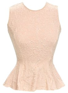 Torn by Ronny Kobo Textured Peplum Sleeveless Top Nude
