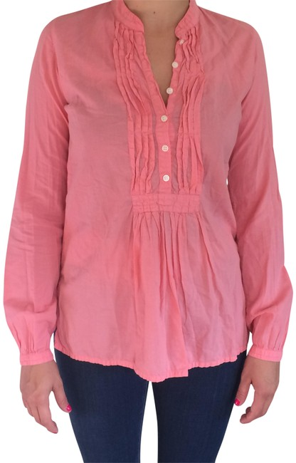Hartford Cotton Summer Bright Pleated Spring Top Salmon
