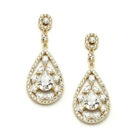 Gold Stunning Crystal Pears Marquis Mosaic Earrings