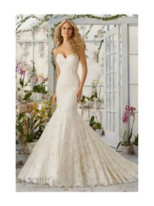 Mori Lee Ivory Lace 2820 Sexy Wedding Dress Size 12 (L)