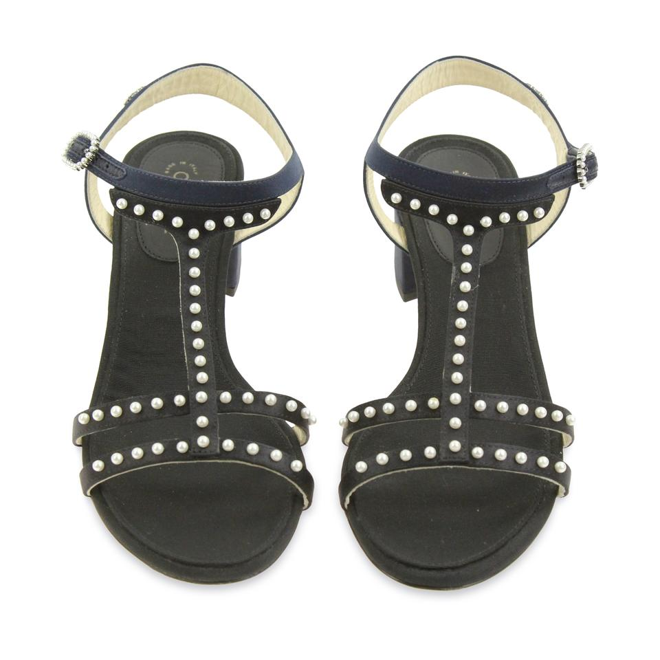 40e887d189be Chanel Black Pearl T Strap Heel Sandals Size EU 38 (Approx. US 8) Regular  (M